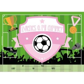 Invitaciones de Cumpleaños de Fútbol Color: azul, rosa