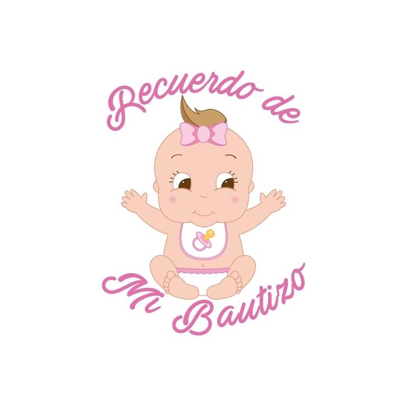 Etiquetas Adhesivas Bautizo Niña con Tara  Etiquetas