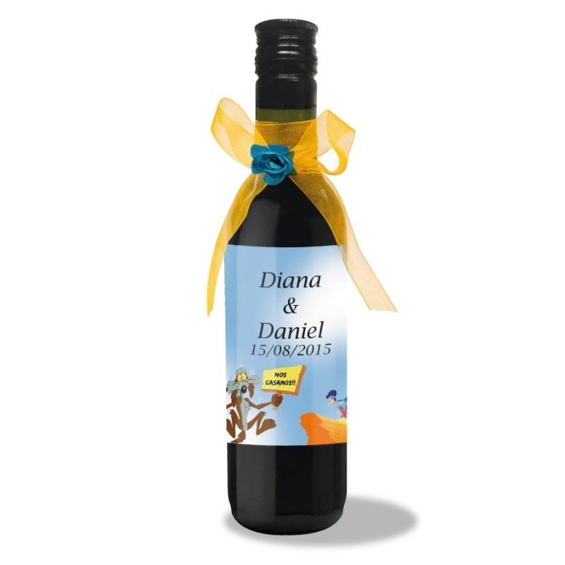 Botella de Vino con Etiqueta Personalizada Detalles Impresos