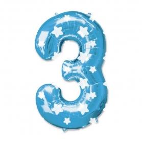 Globos Azules de Números Número:: cero, uno, dos, tres, cuatro