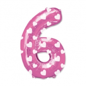 Globos Rosas de Números Número:: cero, uno, dos, tres, cinco