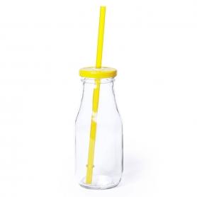 Botella de Cristal con Pajita Color: azul, amarillo, blanco