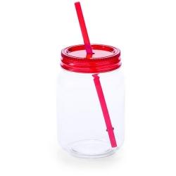Vaso de Cristal con Tapa y Pajita Color: amarillo, azul, rojo