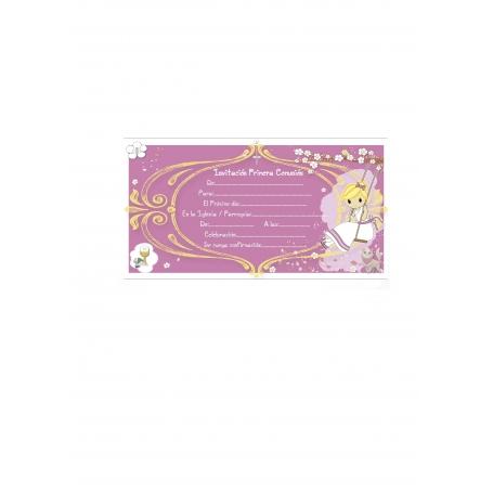 Invitación para Comunión Niña Rosa Invitaciones y Recordatorios