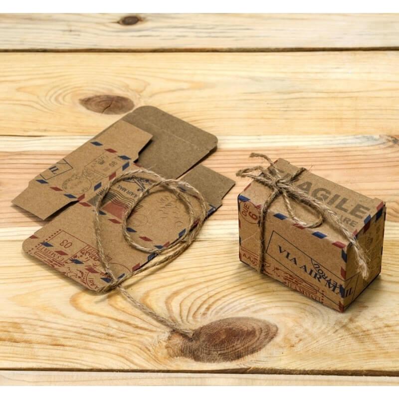 Caja Air Mail Con Cordón Rústico  Cajitas