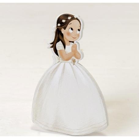 Figura 2d Niña Comunión Vestido Largo Y Corona Figuritas e