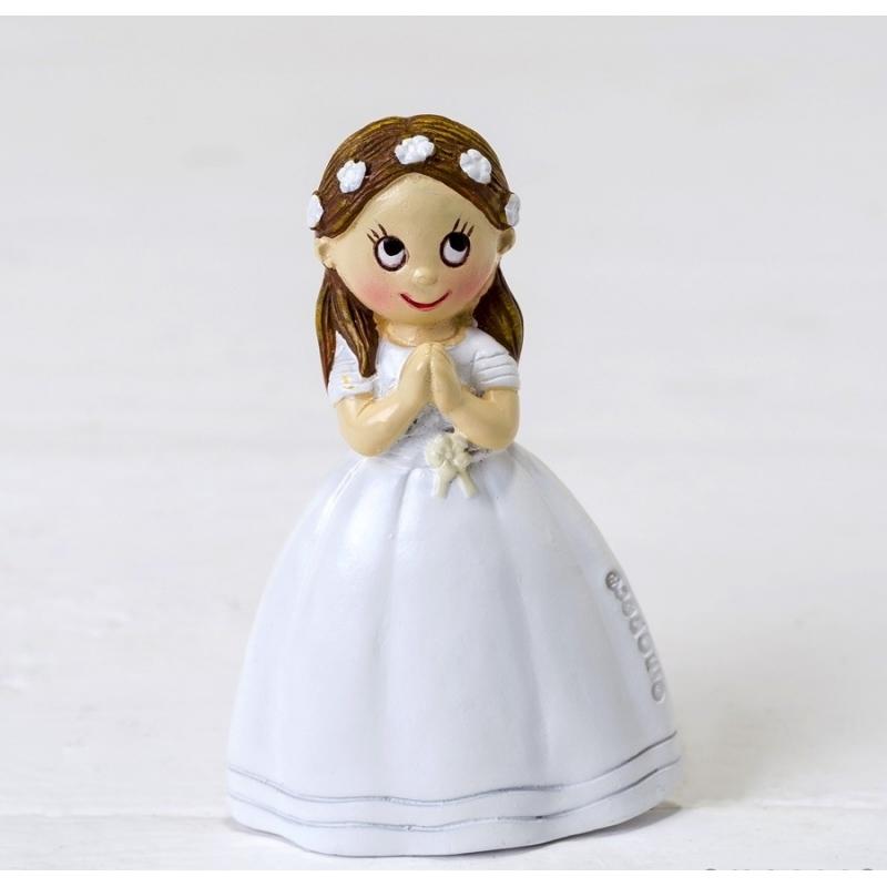 Imán Niña Comunión Vestido Largo Y Corona Flores,  Figuritas e