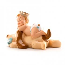Figura de Bautizo Niño Durmiendo con Perro