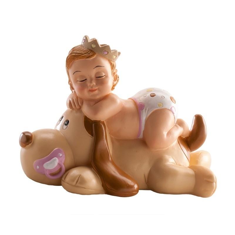 Figura de Bautizo Niña Durmiendo con Perro Figuras tarta