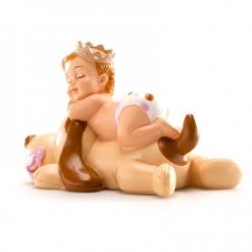 Figura de Bautizo Niña Durmiendo con Perro