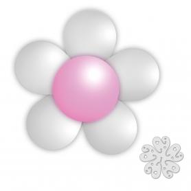 Pack de globos flor en color plata
