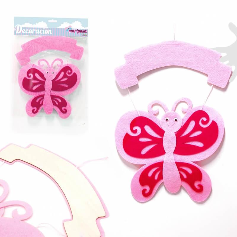Mariposa Rosa para Decoración  Banderines y Guirnaldas para