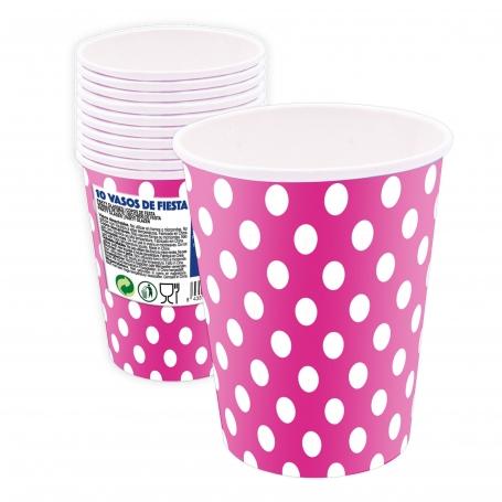Pack de Vasos Desechables de Lunares Color: rosa, celeste