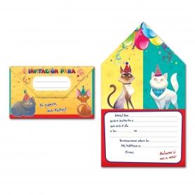 Invitación de Cumpleaños de Gatos