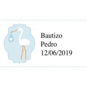 Adhesivo Personalizado de Bautizo Celeste