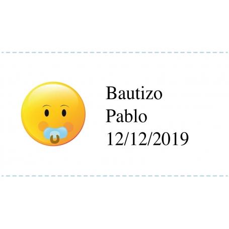 Adhesivo Personalizado Bautizo de Emoji Pegatinas Adhesivos y