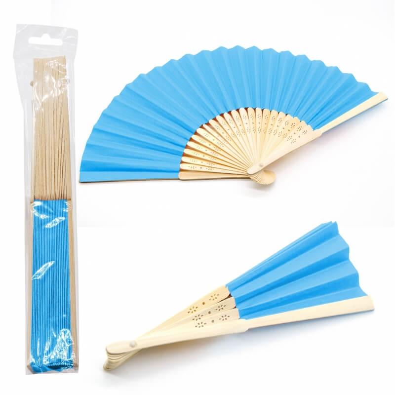Abanico de Madera de Color Azul Turquesa Abanicos de Boda